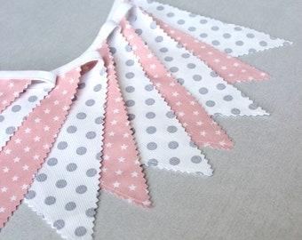 Fabric Banner Bunting, Fabric garland Flag, Blush Pink, Grey, Gray, Light Pink, Baby Gift, Baby Shower, Nursery Decor, fabric pennant banner
