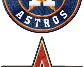 Houston Astros logos machine embroidery design for instant download