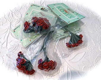 Maroon Ribbon Roses 4 Bunches Floral Supplies Crafts RR-107