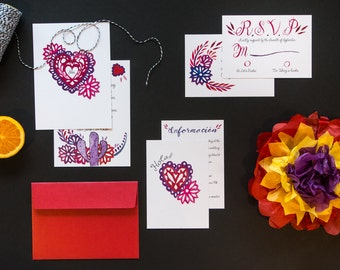 Fiesta - Custom Watercolour, Grape and Red Mexican themed Wedding invitations, with matching envelope