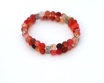 Bracelet with red glass beads, red bracelet, beaded bracelet, glass bracelet- elastic bracelet
