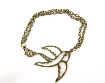 Vintage swallow bracelet, swallow jewelry, vintage bracelet, bird bracelet, vintage jewelry