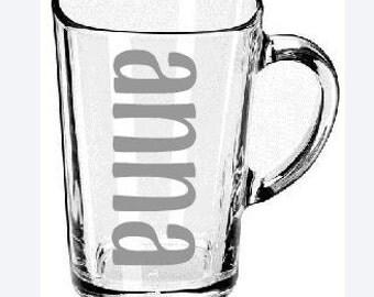 Etched Glass Mug - Personalized - Coffee Mug