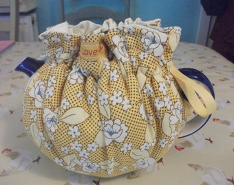 Cotton fabric  drawstring tea cosy