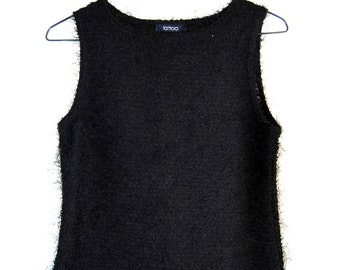 90s Club Kid Fuzzy Black Feathered Tank Top