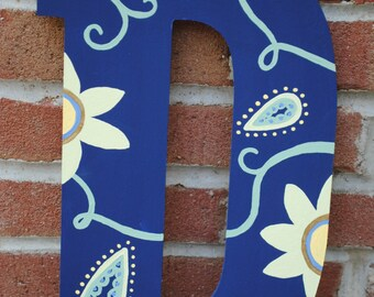 Painted Wooden Letters - Blue floral print // Made to Order & Customizable