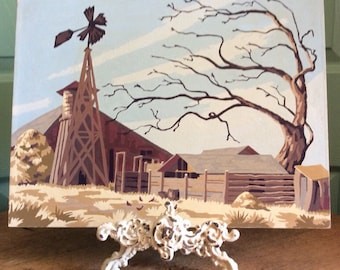 Barn and windmill paint by numbers