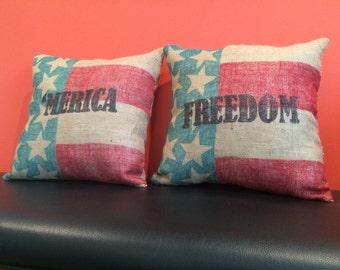 American Flag Burlap Pillow -'Merica Edition