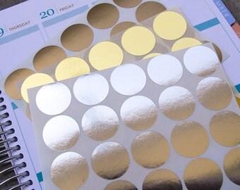 60 metallic circle stickers, silver gold geometric stickers, planner stickers, scrapbook sticker, reminder checklist sticker dot round