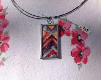 Art Deco Cross Stitch Pendant