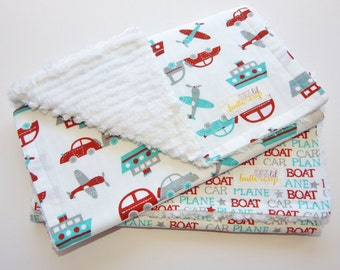 Baby Boy burp cloths- transportation themed -  car, boat, plane, teal, red, gray