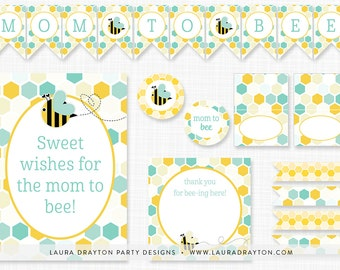 Buzzy Bee Turquoise and Yellow Baby Shower Printable Set - INSTANT DOWNLOAD