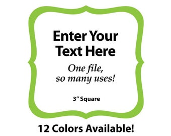 """EDITABLE Printable 3"""" GREEN SCROLL Square - Address Labels, Business Cards, Price Tags, Gift Tags & more - Change the text again and again"""