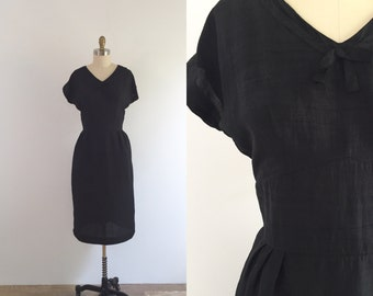 1950s Black Wiggle Dress | large