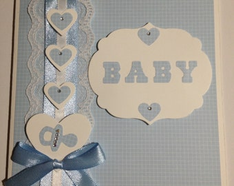 Handmade original new baby card in blue for Baby Boy