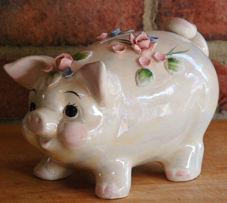 Vintage Lefton Ceramic Piggy Bank With Lustre Finish Flower