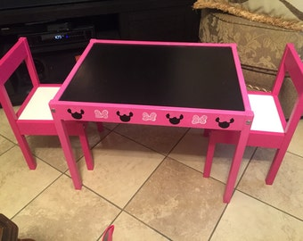 Hand painted kids chalk table Minnie mouse inspired