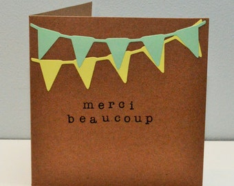 Thank you card 'Merci beaucoup' - bunting die-cut