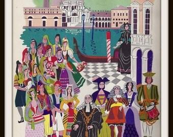 Gondoliers Gilbert + Sullivan Book Print (1941): Frameable Wall Art, Operetta Music Picture, Drama Teacher Gift, Venice Romantic Comedy
