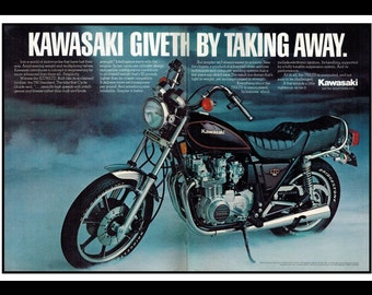 "Vintage Print Ad March 1981 : Kawasaki KZ750LTD Motorcycle 2 Page Advertisement Wall Art Decor Color 16"" x 11"""