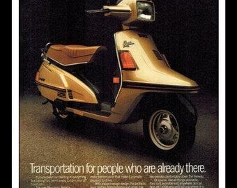 "Vintage Print Ad August 1983 : Yamaha Riva Motorcycle Wall Art Decor 8.5"" x 11"" Print Advertisement"