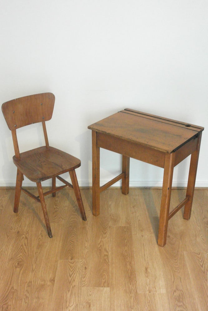 Vintage wooden childrens school desk chair and desk with