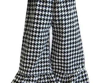 Girls Ruffle Pants, Halloween Ruffle Pants, Capri Pants, Ruffle Shorts, Boutique Pants, Fall Clothes, Houndstooth Pants, Halloween Outfit