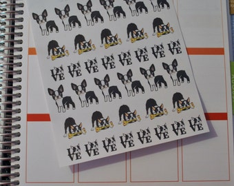 Boston Terrier Stickers Dog Stickers for Erin Condren Life Planner Plum Paper Planner