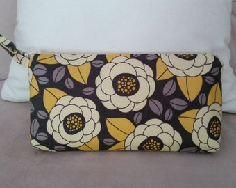 Wristlet Aviary Bloom Yellow and gray