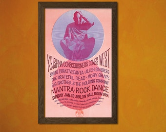 Mantra Rock Dance 1967 - Music Festival Print Krishna 60s Hippy Retro Wall Decor Office decoration Reproductiont