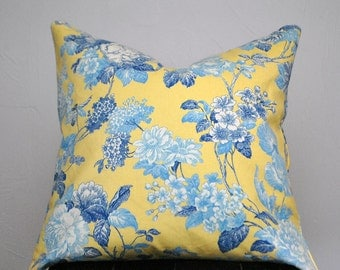 Decorative pillow, Yellow Pillow cover, Cushion, Floral Pillow Cover, Yellow Blue pillows, Throw pillow, Pillow Cover