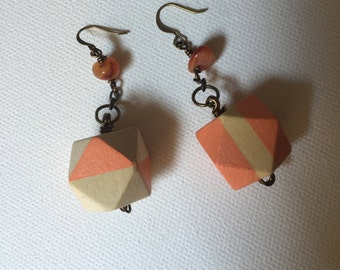 Orange Geo Earrings--Dangle Earrings