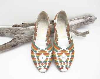 Vintage Woven Flats, Made in Brazil, Multi Colored Leather, Footniks