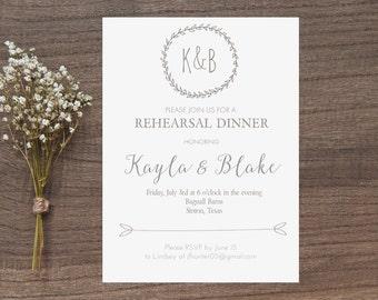Rustic Rehearsal Dinner Invitation, Wedding Invitation, Custom Made Digital Print