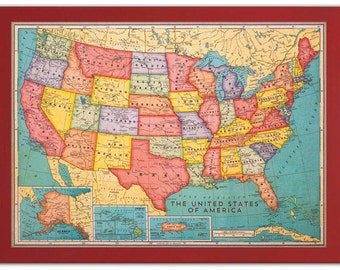 Framed Cork Board Map of the USA