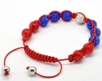 Red Turquoise Blue White Rhinestone Macramé Shamballa Bracelet 7-10 Inches Adjustable