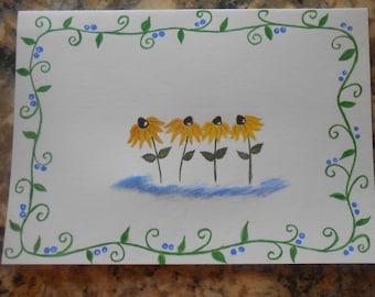 Black eye susan watercolor stationary card, hand painted, oringal artwork, sunflower