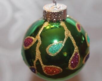 Dark Green Ornament with Multi Colored Decorations #507