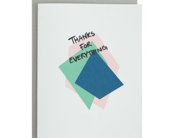 Geometric Thank You Card, modern, hand lettered, simple, thanks for everything