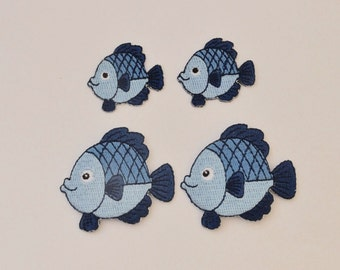 Iron on Patch fish light blue/ blu embroidered big or small kindergar daycareten,
