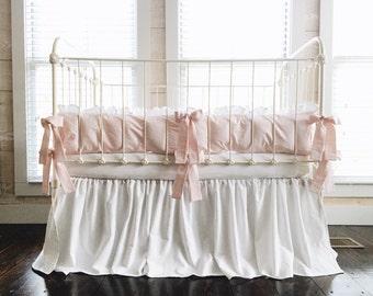 Baby Girl Bedding - Girl Crib Bedding Set - Pink Crib Bedding - Farmhouse Crib Bedding - Crib Bedding Girl - White Crib Skirt - Pink Bumpers