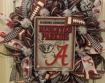 """Alabama Crimson Tide Wreath.  24"""" crimson and white deco mesh."""