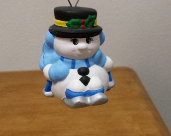 Ceramic Snowman Skiing Ornament (#352F)