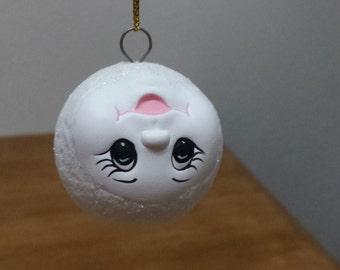 Ceramic Snowball with face - standing on head Ornament (#85D)