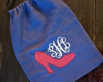 Monogrammed Shoe Bag- Applique Shoe Bag - High Heel- Pump- Travel Bag- Lingerie Bag- Waffle Weave Bag - Drawstring Bag - Napsack - Backpack