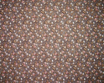 Brown Floral Calico Cotton Fabric, Cranston Print Works, 1 Yard