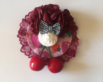 Delightful Desserts Burgundy Roses, Black Bow