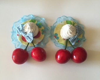 Delightful Desserts Cherry On Top Pair Blue and Yellow