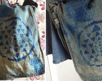 psy trance goa sacred geometry handmade print jeans bag