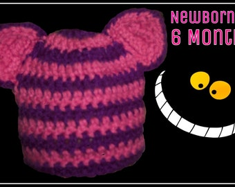 Cheshire Cat Hat or Beanie Newborn to 6 Months